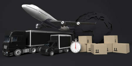 3D Render of a Cargo Delivery Vehicle