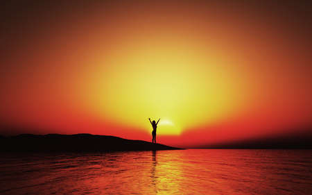 3D render of a sunset landscape with female with arms raised in joy
