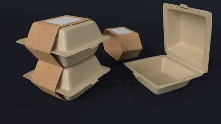 3d render of Blank plastic disposable food container mockup