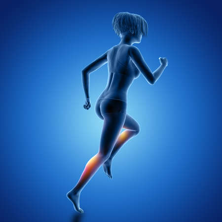 3D render of a female figure in running pose with muscles used highlighted 版權商用圖片