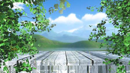 3D render of a wooden table in trees against a defocussed landscape background 版權商用圖片 - 151724046