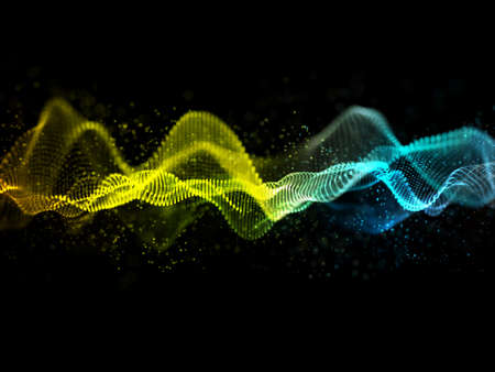 3D render of an abstract sound waves design with flowing particles 版權商用圖片 - 151811775