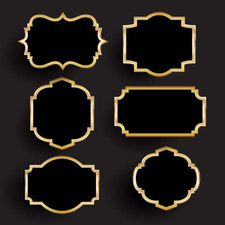 Collection of decorative gold and black frames