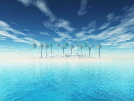 3D render of a tropical palm tree island landscape