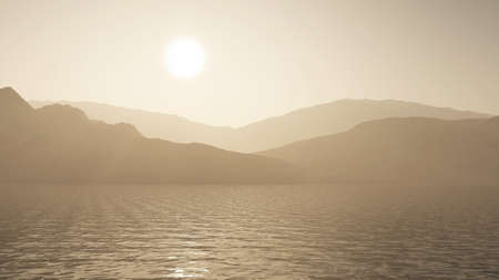 3D render of an ocean against a mountain landscape in sepia tones 版權商用圖片 - 152152738