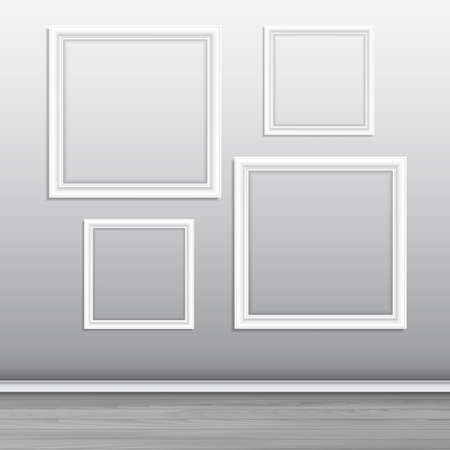 Collection of blank picture frames hanging on a wall 向量圖像