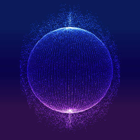 Abstract modern technology background with sphere of glowing particles 向量圖像