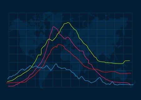 World map with graph design Vektoros illusztráció