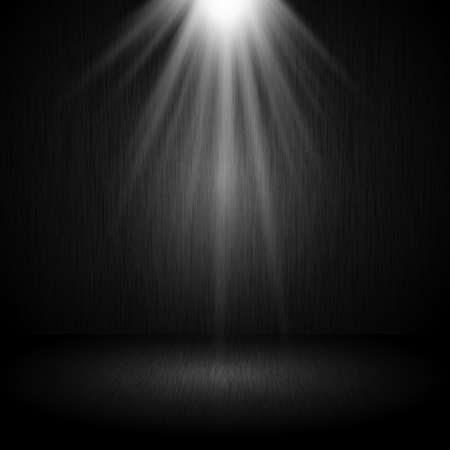 Dark grunge room interior with spotlight shining down 向量圖像