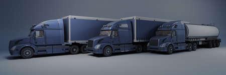 3D Render of a Cargo Delivery Vehicle Fleet 版權商用圖片
