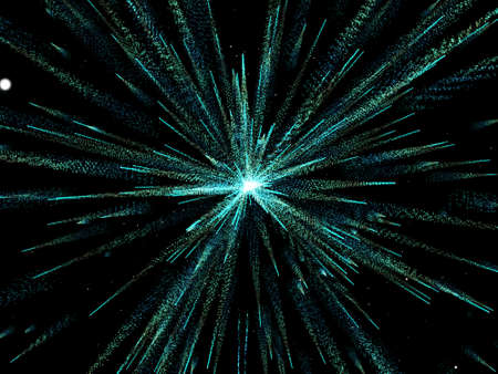 3D render of an abstract background with exploding particles