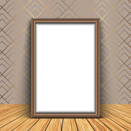 3D render of a blank picture frame against an elegant wallpaper background 版權商用圖片