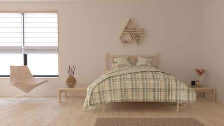 Render of 3D Contemporary Bedroom Interior