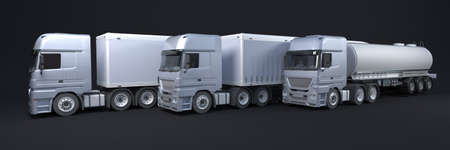 3D Render of a Cargo Delivery Vehicle Fleet 版權商用圖片 - 152614016