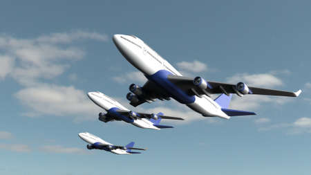 3d render of Airplane isolated on cloud sky background 版權商用圖片 - 152613645