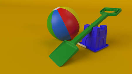 3d render of Colourful plastic bucket and spade background 版權商用圖片