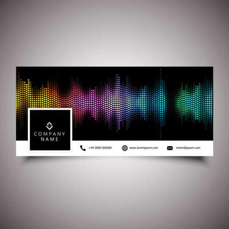 Social media timeline cover design with sound waves design