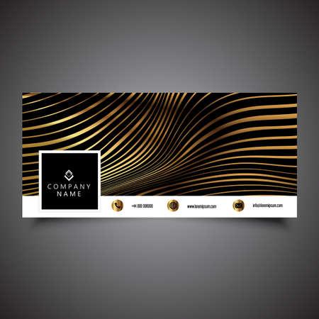 Social media timeline cover with a gold stripes design Vector Illustration