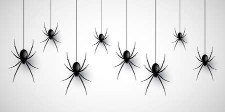 Halloween banner design with hanging spiders Ilustracja