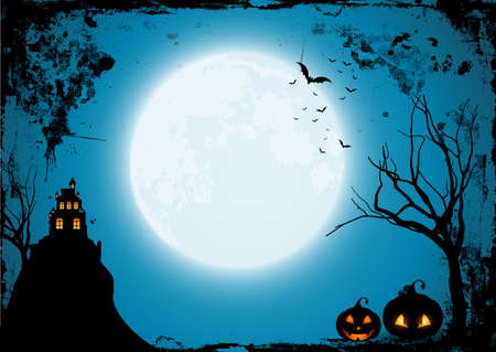 Grunge Halloween background with pumpkins and s spooky castle
