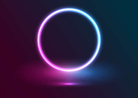 Presentation display background with neon circle design