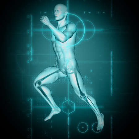 3D render of a medical background with male figure in running pose Stockfoto