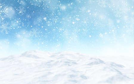 3D render of a snowy Christmas landscape