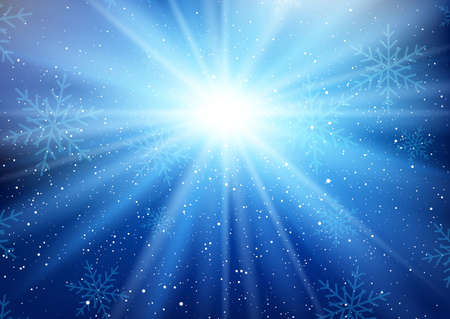Christmas starburst background with falling snowflakes Vetores