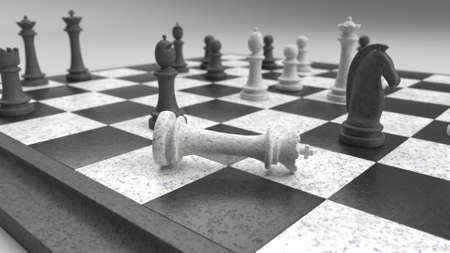 3d render of Classic chessboard and pieces
