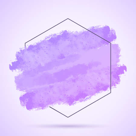 Abstract background with hand painted grunge stroke and hexagonal frame