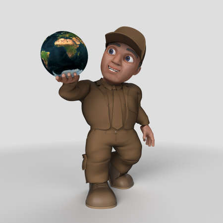 3D Render of Cartoon Delivery Driver