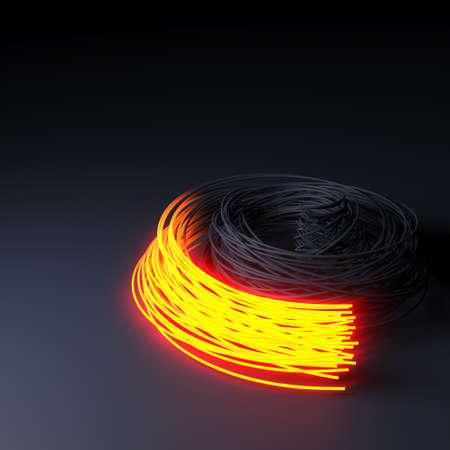 3D Render of Fiber optics, abstract & blur background