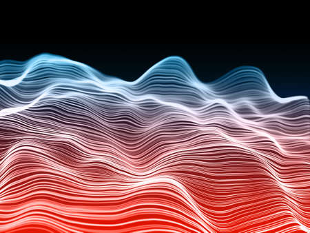 3D render of a network communications background with flowing waves