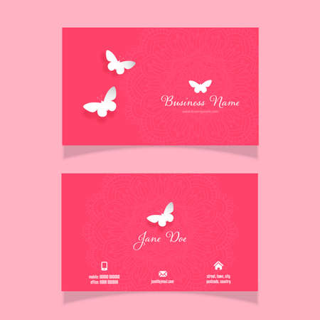 Business card with an elegant butterfly and mandala design 向量圖像