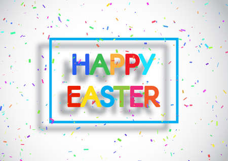 Easter background with colourful lettering and confetti 向量圖像