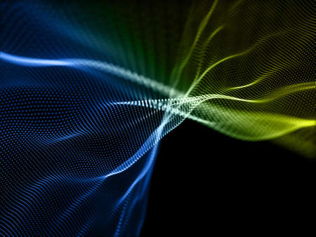 3D render of a digital background with flowing particles