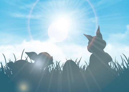 Easter background with silhouettes of bunnies against a blue sunny sky