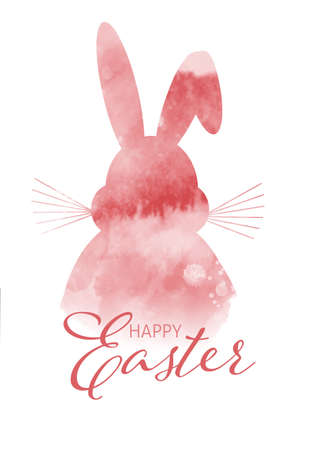 Easter background with watercolour easter bunny design