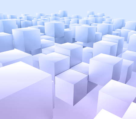 3D render of a modern abstract background with floating cubes