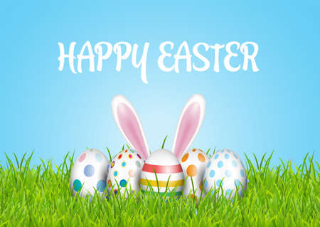 Cute Easter background with eggs and bunny nestled in grass