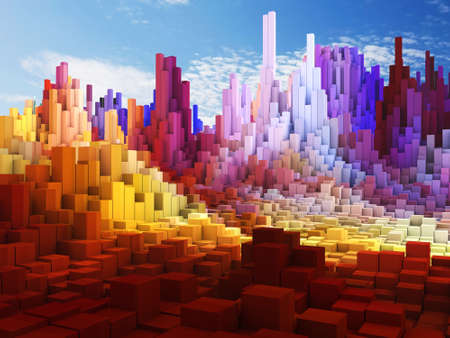 3D render of an abstract cube landscape against blue sky background 版權商用圖片