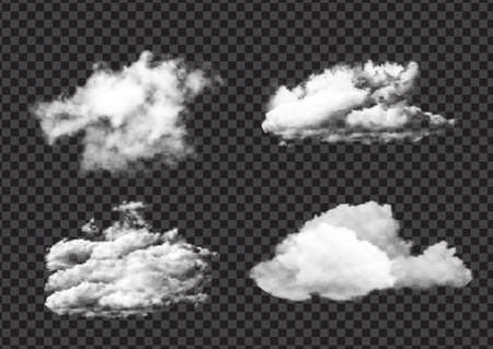 Collection of realistic flurry white cloud designs 向量圖像