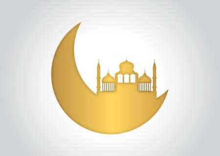 Decorative Ramadan Kareem background in gold and white