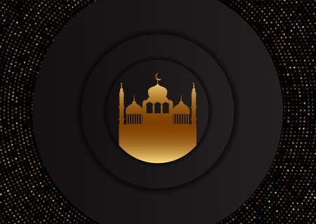 Abstract Ramadan Kareem background with gold mosque design