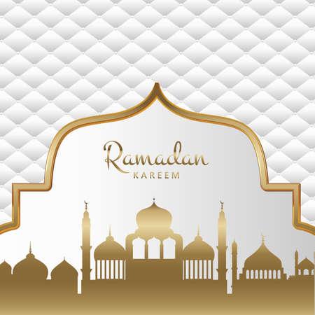 Gold and white decorative Ramadan Kareem background