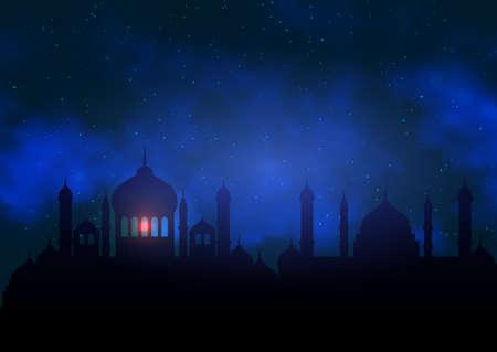 Ramadan Kareem background with mosque silhouette against night sky