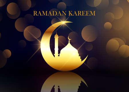 Elegant Ramadan Kareem background with crescent and bokeh lights