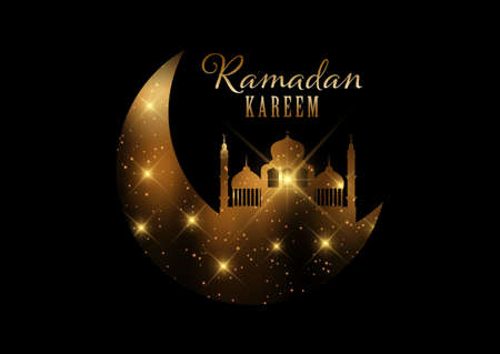 Elegant Ramadan Kareem background with gold lights and stars design