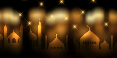 Banner with decorative gold and black design for Ramadan Kareem