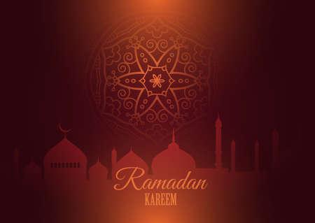 Ramadan Kareem background with silhouettes of mosque and mandala design 向量圖像
